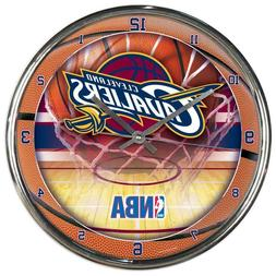 Chrome Round Wall Clock NBA Cleveland Cavaliers