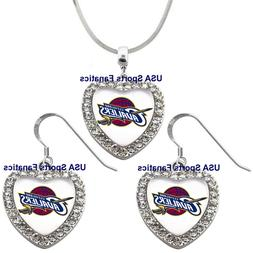 Cleveland Cavaliers 925 Necklace / Earrings or Set Team Hear