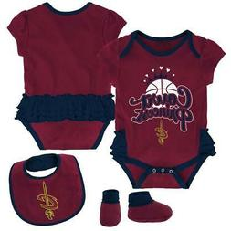 Cleveland Cavaliers Creeper, Bib and Bootie Set Infant Set