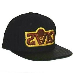 Cleveland Cavaliers Hat Snapback Black Yellow Maroon Leather