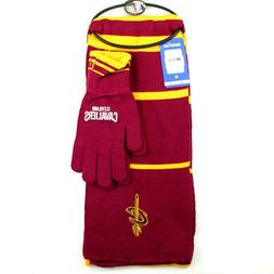 cleveland cavaliers nba knit scarf and gloves