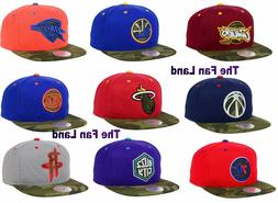 New NBA Camo Visor 2 Tone Mens Snapback Hat Cap